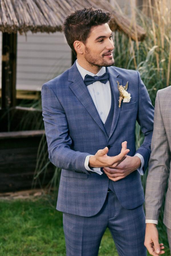 Manzetti kék kockás esküvői öltöny 9440-14