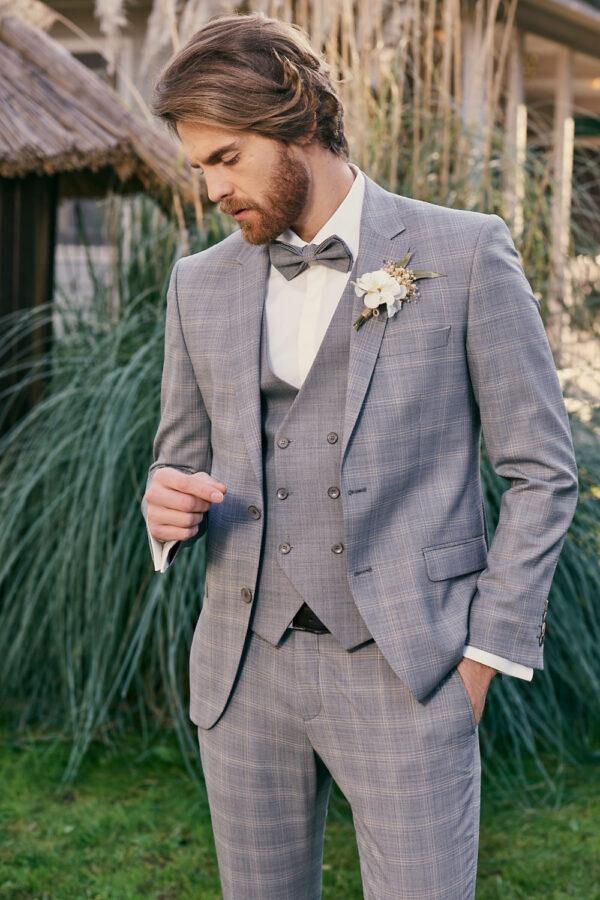 Manzetti szürke kockás esküvői öltöny 9440-03